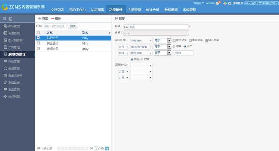 图:ZCMS中的浏览权限组